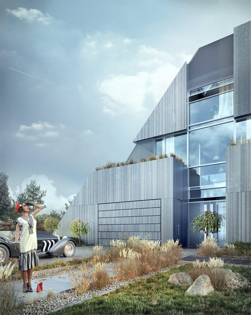 1- FLYHOUSE – wykończony trójwymiarowymi panelami z betonu architektonicznego (widok na front domu)