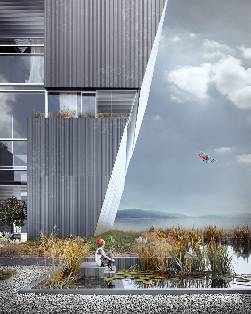 2- FLYHOUSE – wykończony trójwymiarowymi panelami z betonu architektonicznego (widok na staw z przodu domu)