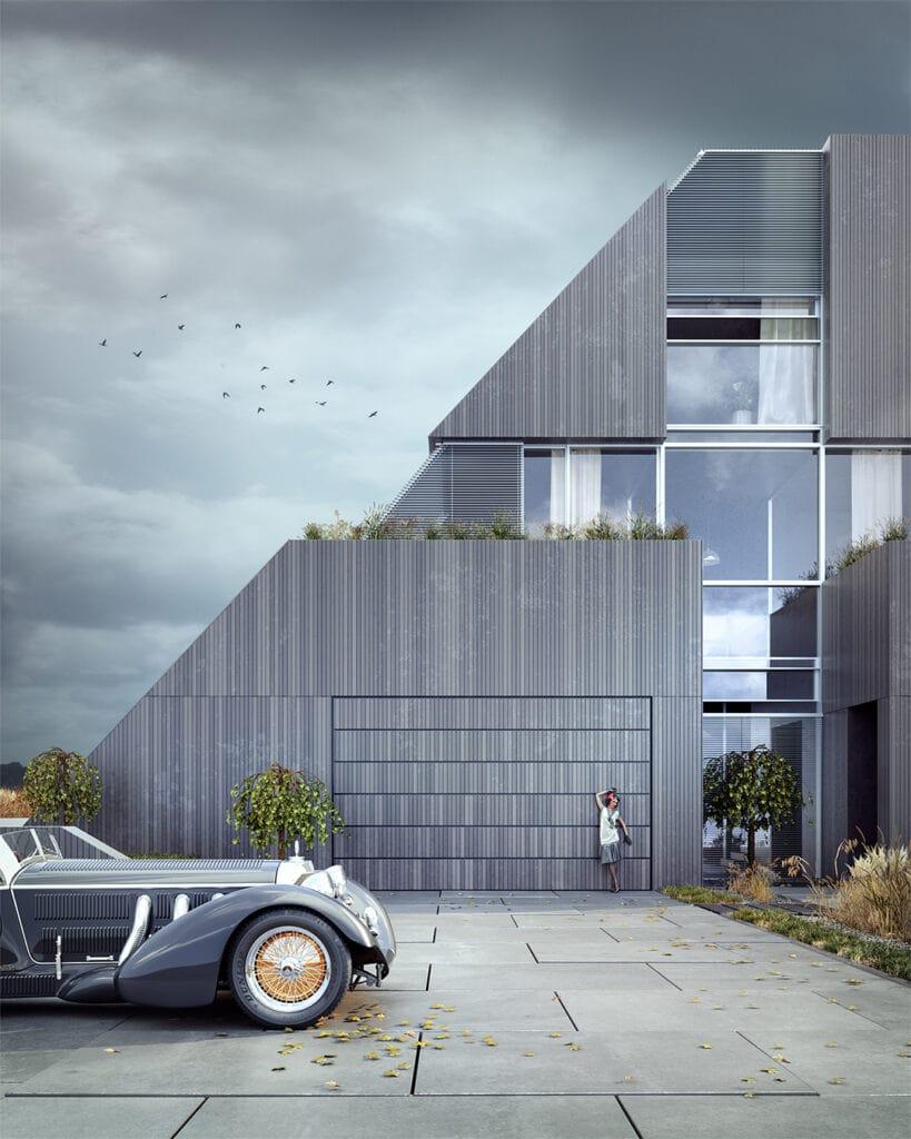 3- FLYHOUSE – wykończony trójwymiarowymi panelami z betonu architektonicznego (widok na bramę garażową)