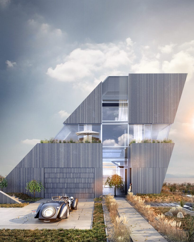 4- FLYHOUSE – dom inspirowany znanym logo (widok na front domu)