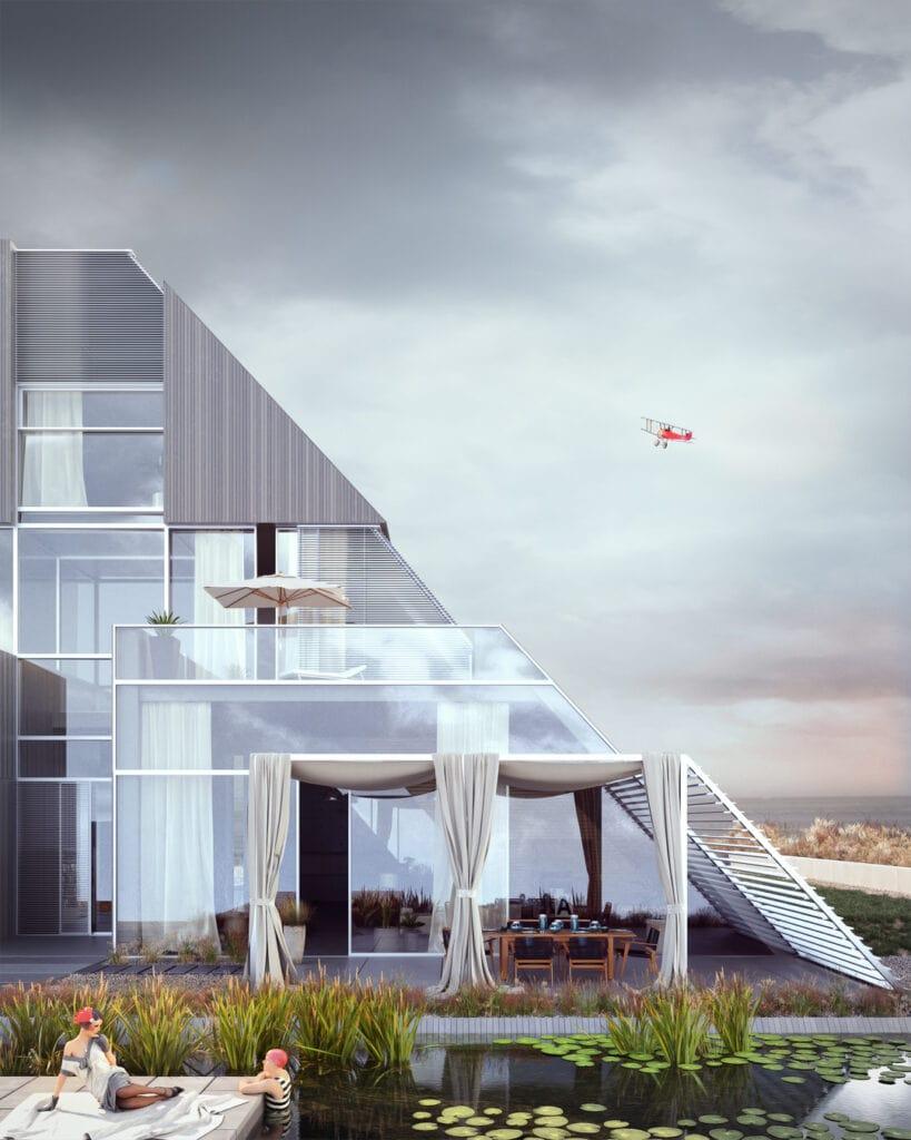5- FLYHOUSE – dom inspirowany znanym logo (widok na tył domu i wyjście na taras z salonu)