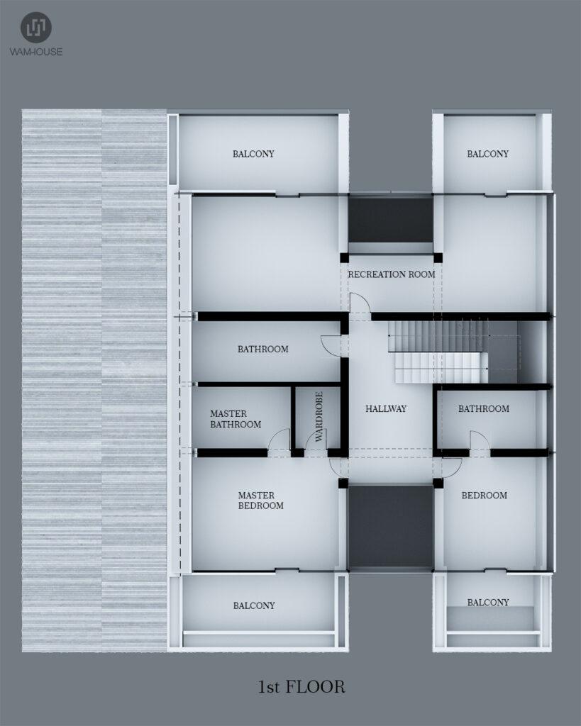 8- FLYHOUSE – dom inspirowany znanym logo (rzut 1 piętra)