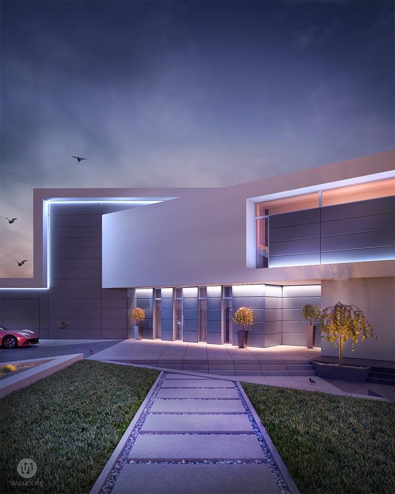 1- CALISIA HOUSE – widok na wejście do domu z oświetleniem zewnętrznym