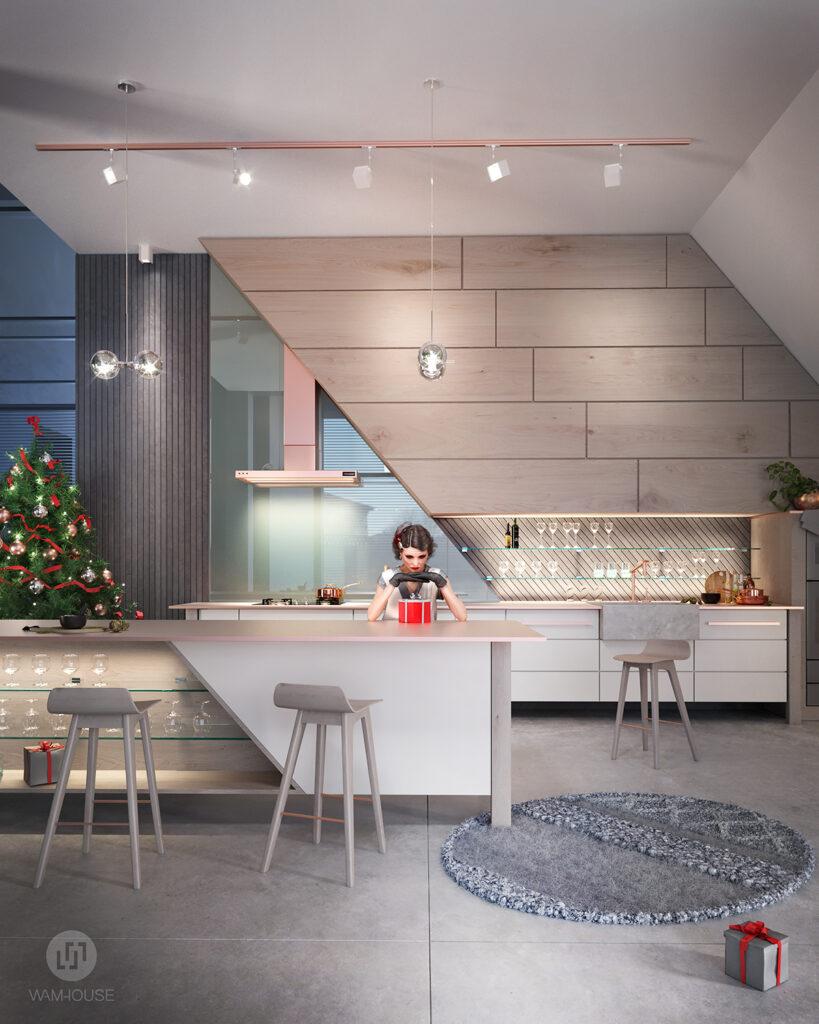 1- FLYHOUSE – wnętrze domu: kuchnia