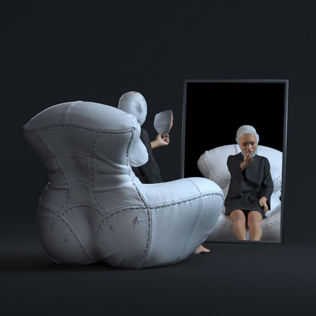 1- NAGABABA – fotel skórzany w wersji białej