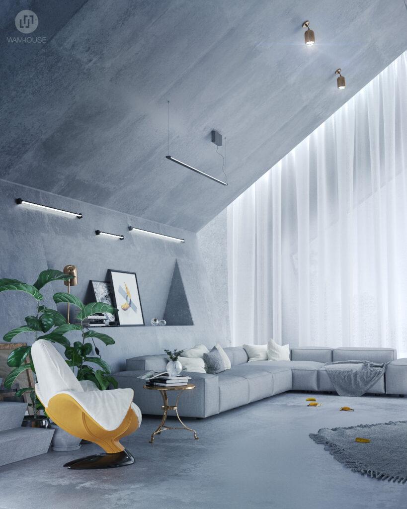 1- PENTAHOUSE – projekt wnętrza (salon)