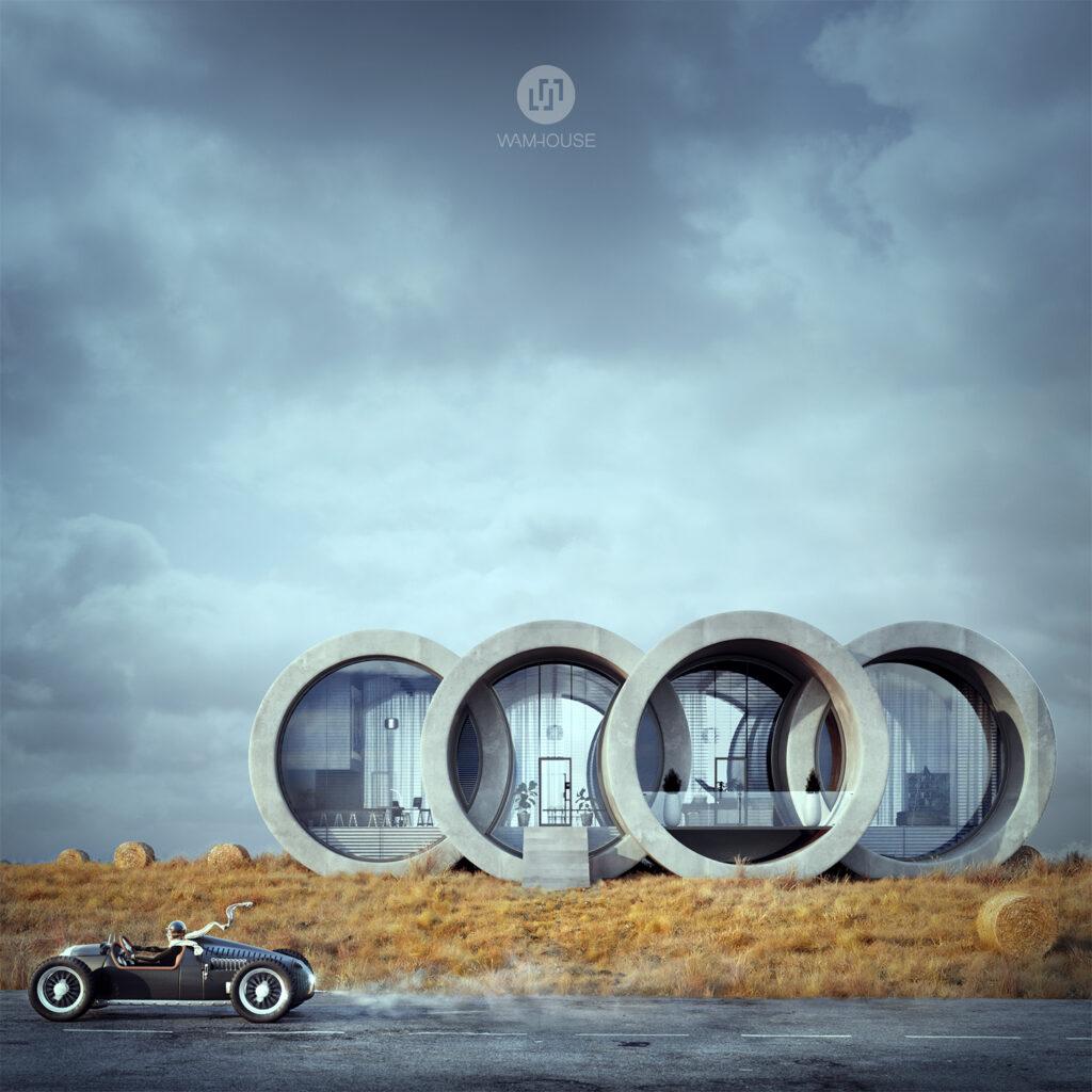 1- RINGHOUSE – betonowy dom inspirowany znanym logo (widok na front domu)