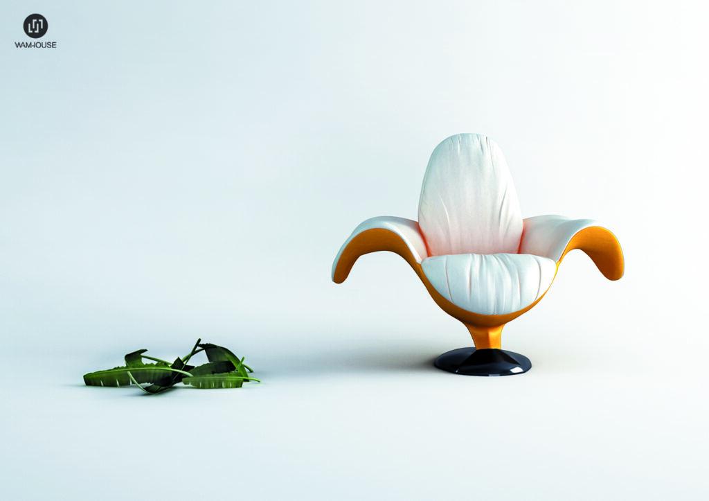 1- ZJEDZONY – fotel tapicerowany w kształcie banana