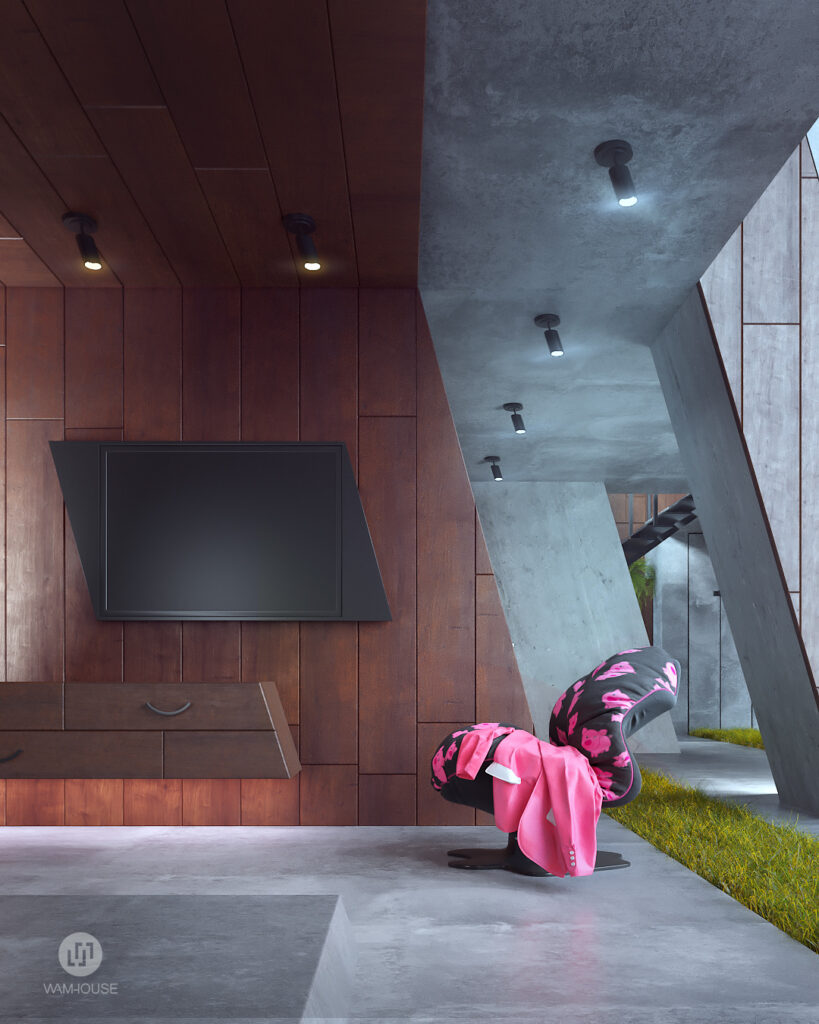 1- GREENHOUSE – projekt wnętrza (salon)