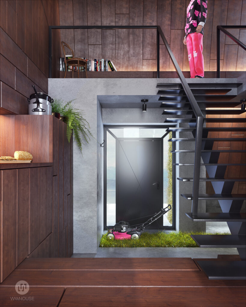 10- GREENHOUSE – projekt wnętrza (kuchnia i schody na piętro)