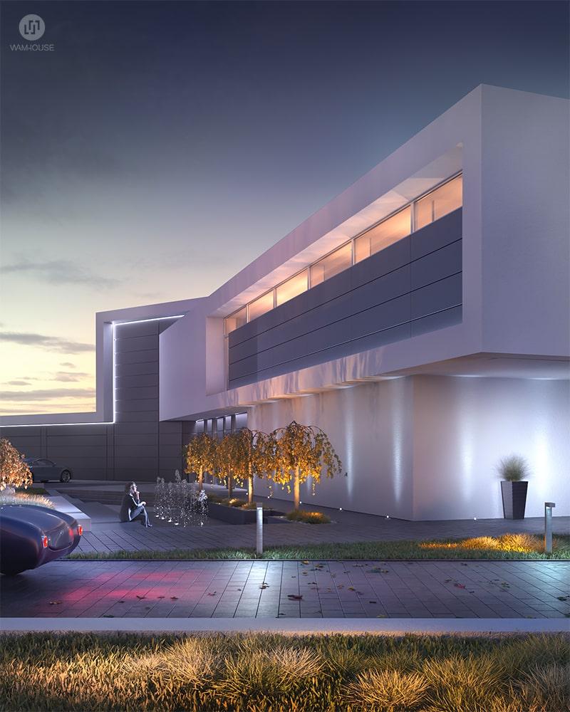 2- CALISIA HOUSE – widok na front domu i fontanny z oświetleniem zewnętrznym