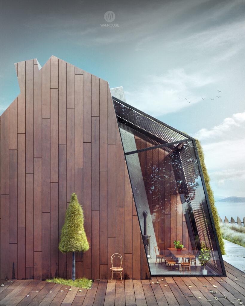 2- GREENHOUSE – nowoczesny dom wiejski (tył domu)