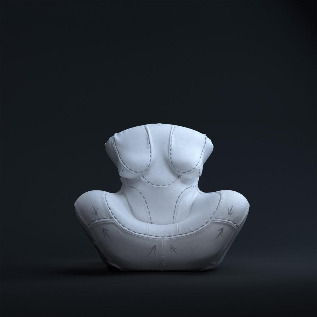 2- NAGABABA – fotel skórzany w wersji białej