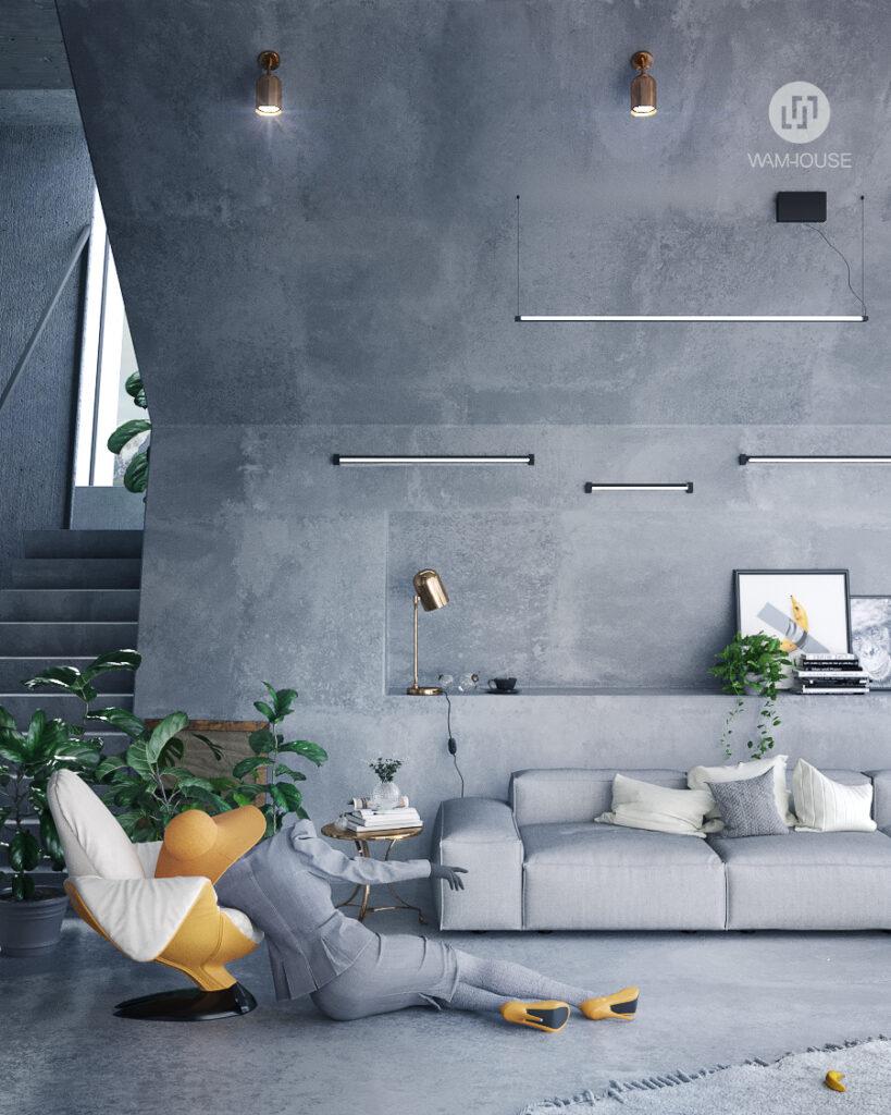 2- PENTAHOUSE – projekt wnętrza (salon)