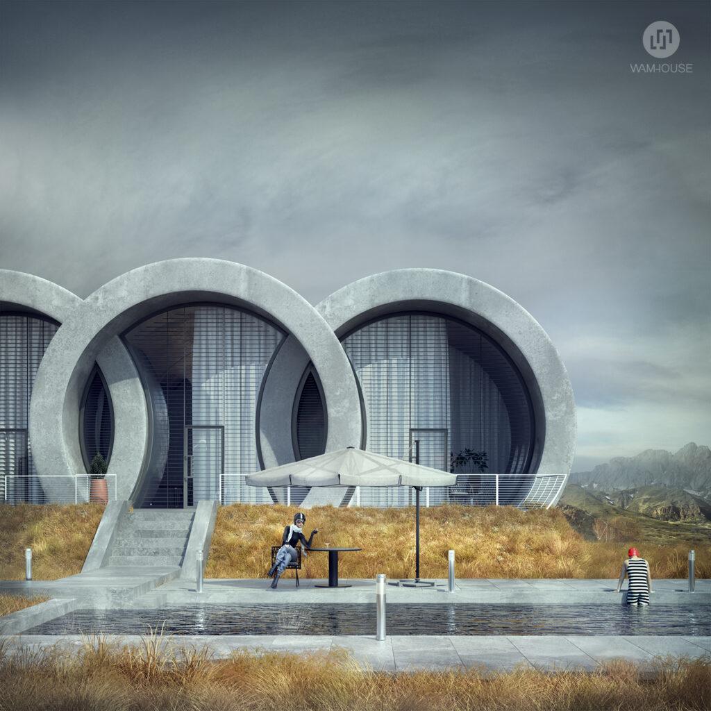 2- RINGHOUSE – betonowy dom inspirowany znanym logo (widok na tył domu)