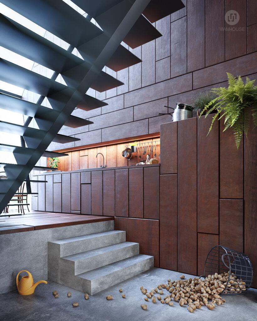 2- GREENHOUSE – projekt wnętrza (kuchnia i schody na piętro)