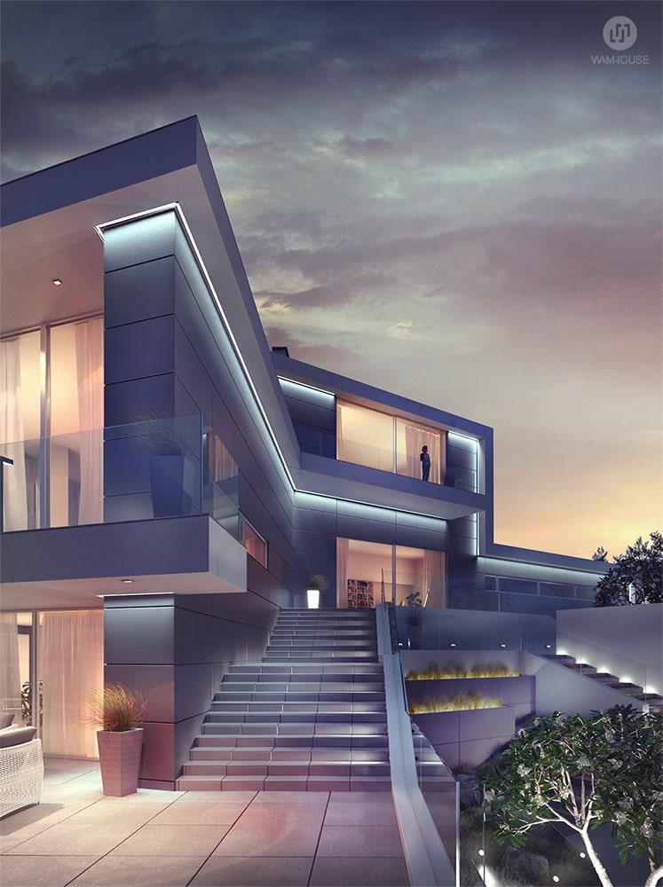 3- CALISIA HOUSE – widok na tył domu (schody na taras dolny) z oświetleniem zewnętrznym