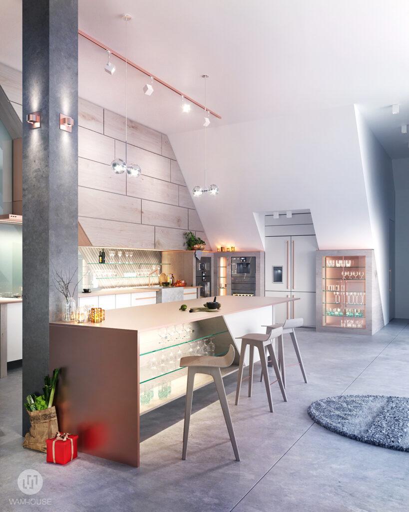 3- FLYHOUSE – wnętrze domu: kuchnia
