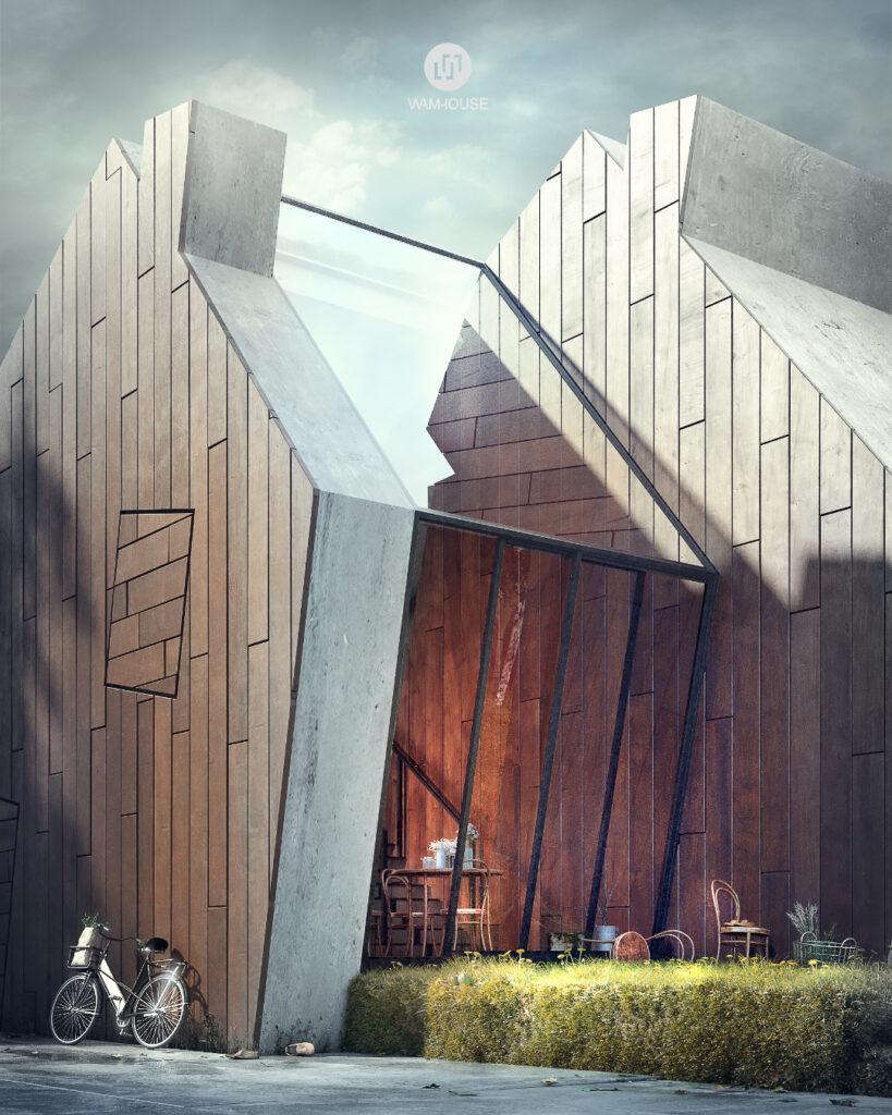 3- GREENHOUSE – nowoczesny dom wiejski (bok domu – wyjście z kuchni)