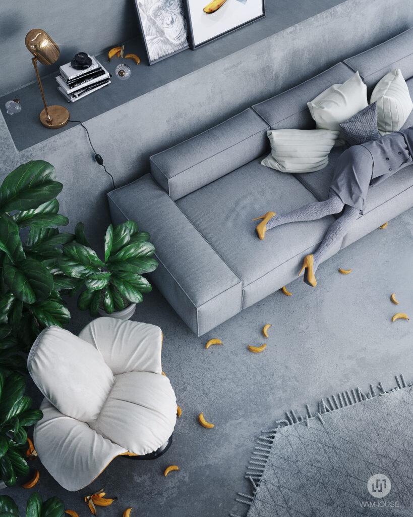 3- PENTAHOUSE – projekt wnętrza (salon)