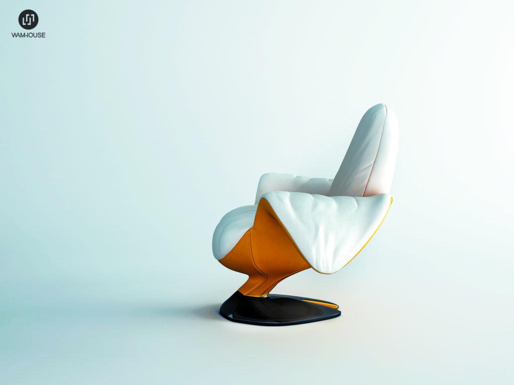 3- ZJEDZONY – fotel tapicerowany w kształcie banana