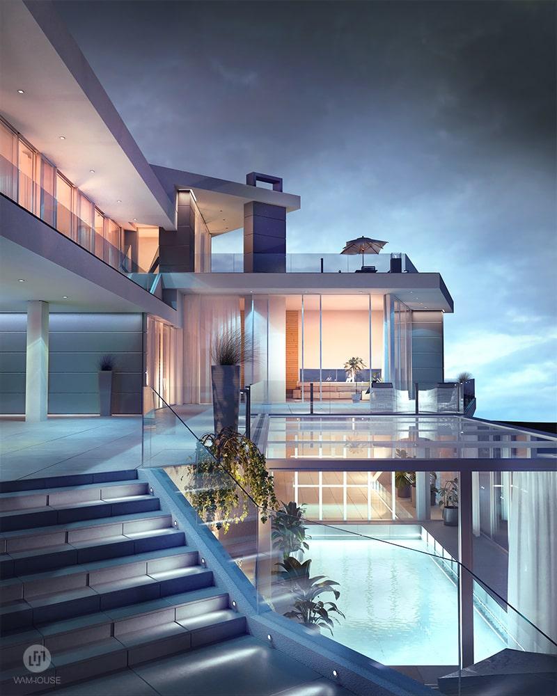 4- CALISIA HOUSE – widok na tył domu i basen z oświetleniem zewnętrznym