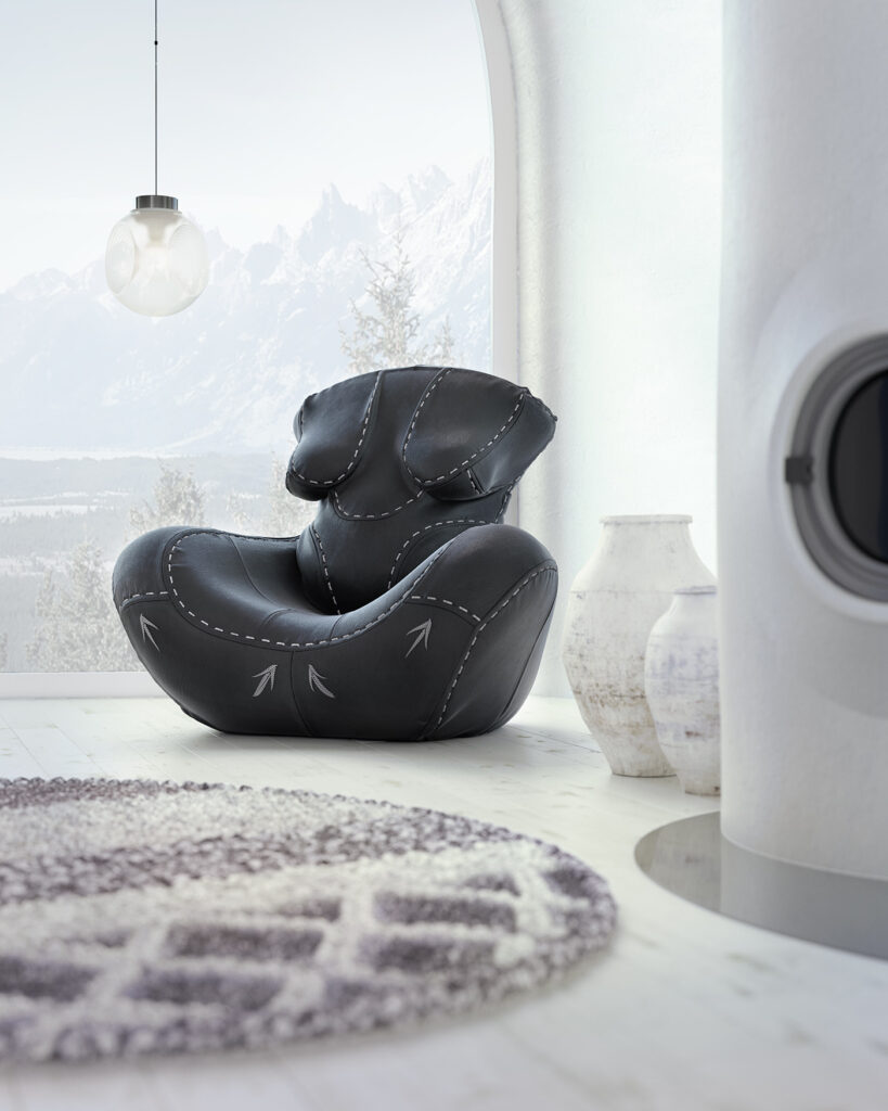 4- NAGABABA – leather armchair in black