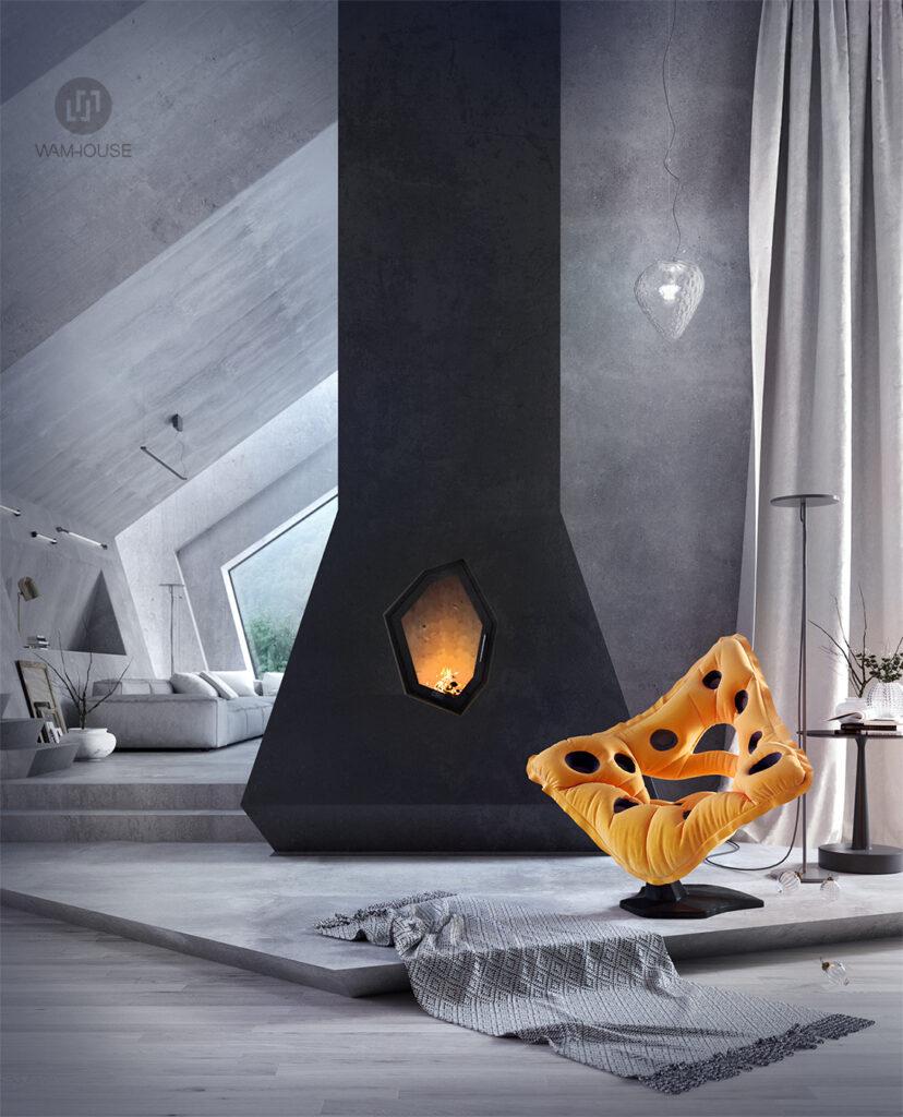 4- PENTAHOUSE – projekt wnętrza (salon)