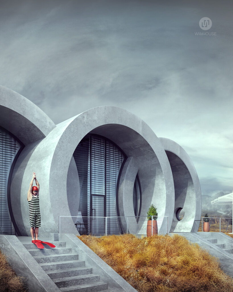 4- RINGHOUSE – betonowy dom inspirowany znanym logo (widok na tył domu, schody)