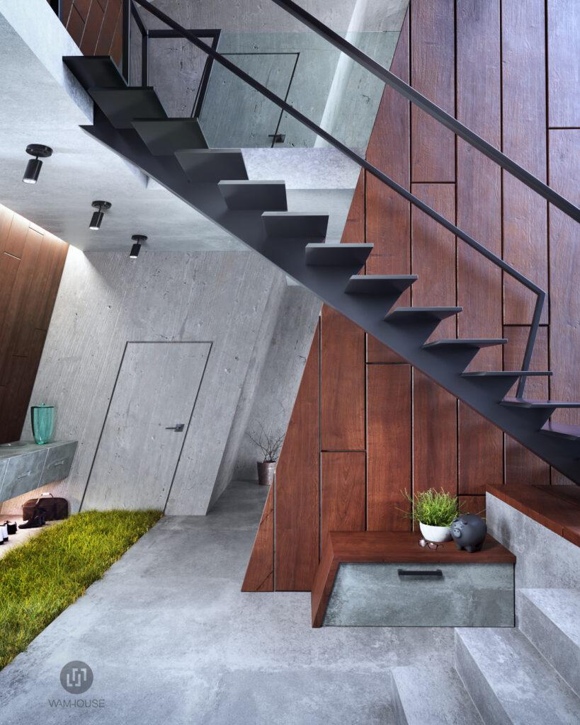4- GREENHOUSE – projekt wnętrza (korytarz i schody na piętro)
