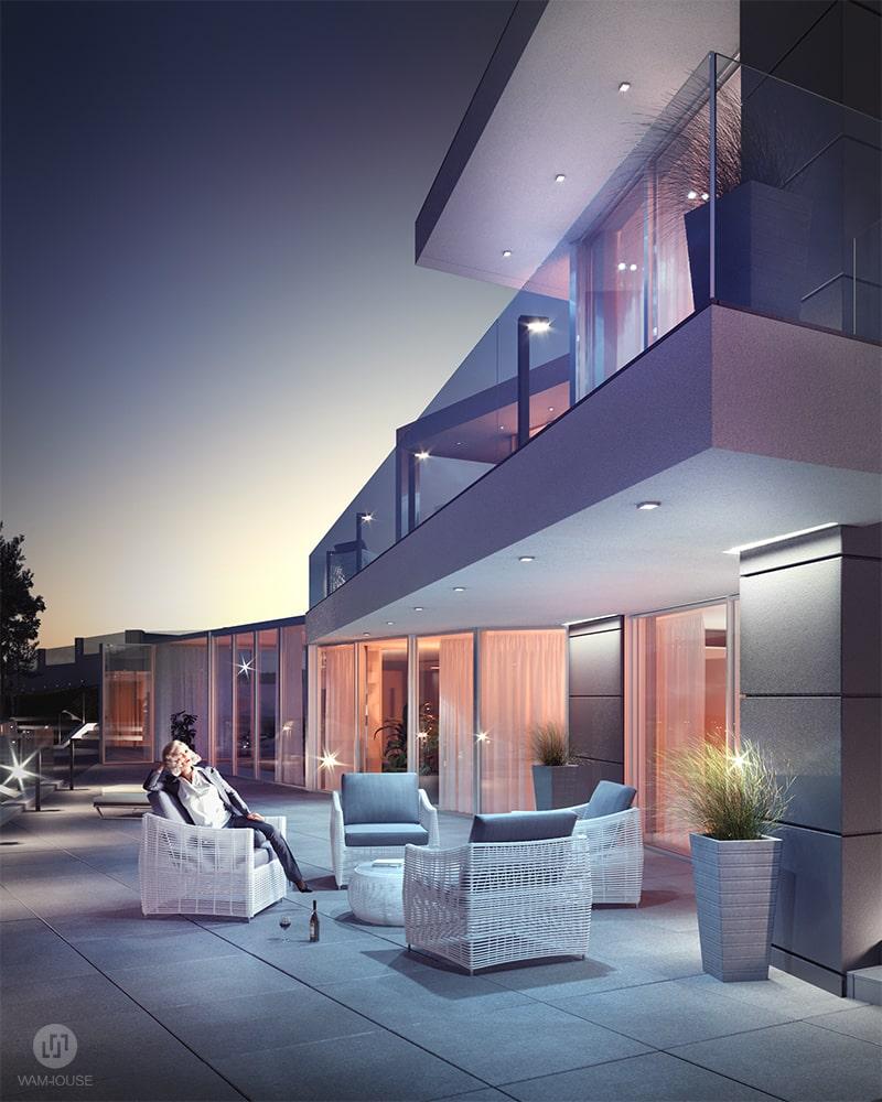 5- CALISIA HOUSE – widok na tył domu i taras dolny z oświetleniem zewnętrznym