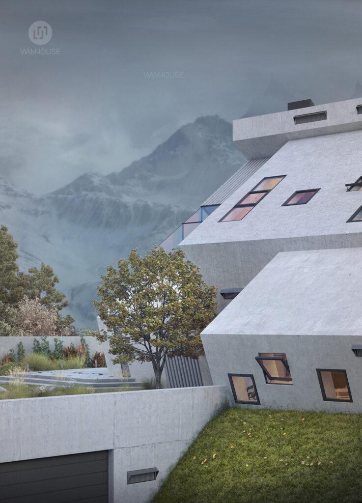 5- PENTAHOUSE – pentagon-shaped house (left side view with underground garrage door)