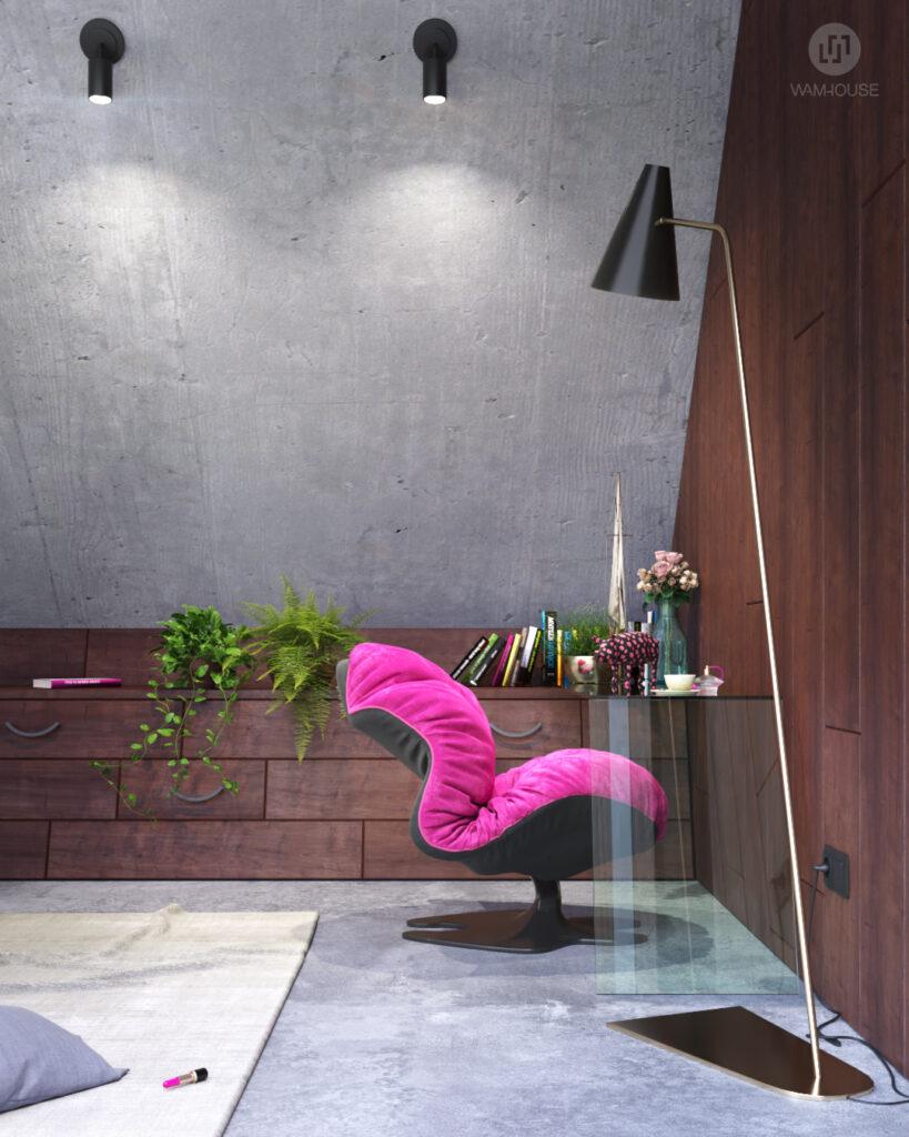 5- GREENHOUSE – projekt wnętrza (sypialnia na piętrze)