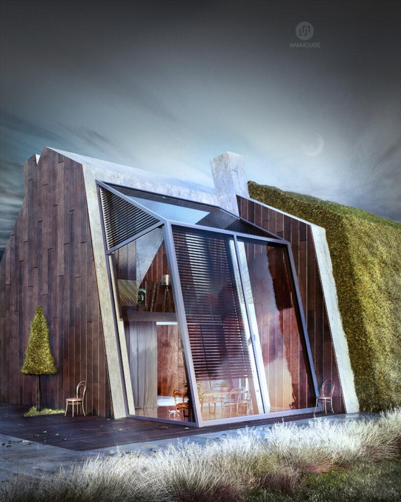 6- GREENHOUSE – nowoczesny dom wiejski (bok domu – okna w salonie)