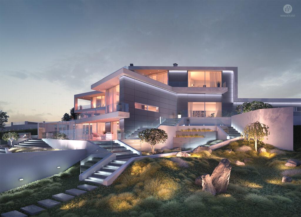 6- CALISIA HOUSE – widok na tył domu od strony ogrodu z oświetleniem zewnętrznym