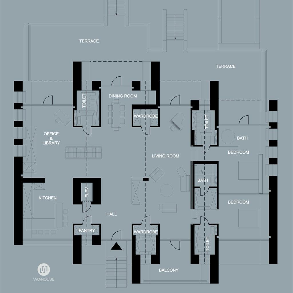 6- RINGHOUSE – betonowy dom inspirowany znanym logo (rzut kondygnacji)