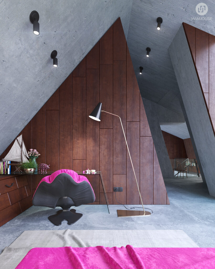 6- GREENHOUSE – projekt wnętrza (sypialnia na piętrze)