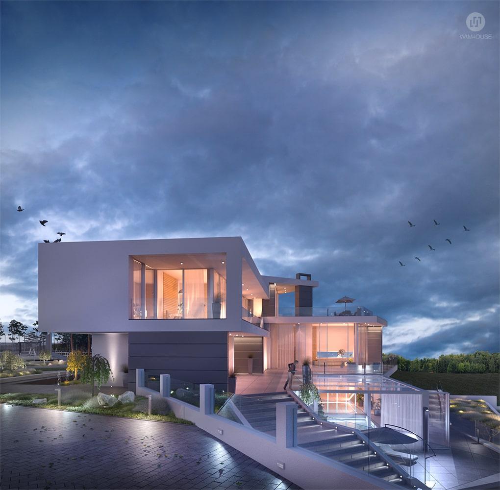 7- CALISIA HOUSE – widok na bok domu z oświetleniem zewnętrznym