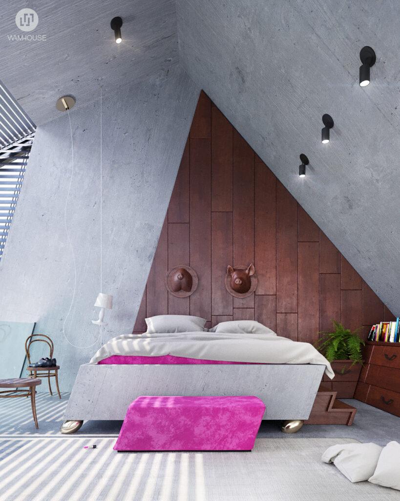7- GREENHOUSE – projekt wnętrza (sypialnia na piętrze)