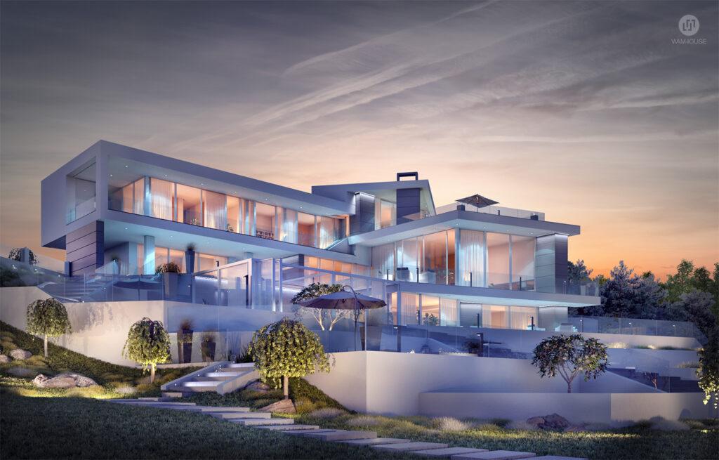 8- CALISIA HOUSE – widok na tył domu od strony ogrodu z oświetleniem zewnętrznym