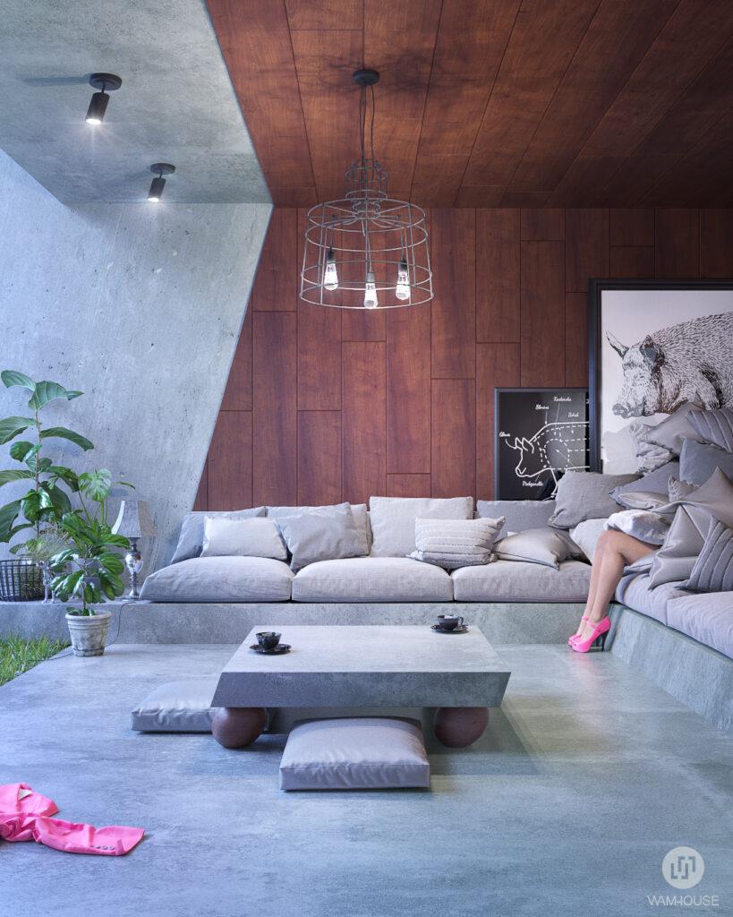 8- GREENHOUSE – projekt wnętrza (salon)
