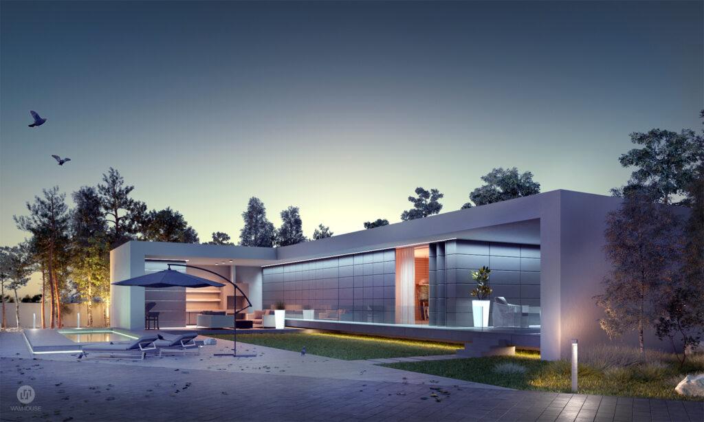 9- CALISIA HOUSE – widok na domek rekreacyjny z oświetleniem zewnętrznym